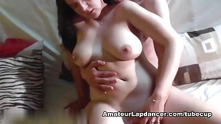 Busty girl does BJ, titjob and gets licked and fingered