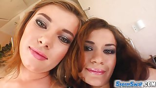 Sperm Swap Two sweet faced bitches get orally violated