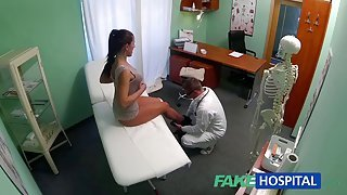 Horny brunette milf gets nailed by her horny fake doctor