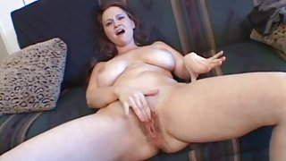 Mom gropes her huge tits and plays with her cunt