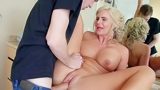 Curvy milf Phoenix Marie with big tits and big round ass is his dads new wife. He finds her sexy and she doesnt mind taking his thick hard dick in her shaved pussy and in her asshole! Watch step-mom get nailed
