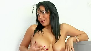 Naturally busty milf Valeria dildos her wet experienced pussy and sucks real cock in this hot video. This sexy mom in sexy red dress is horny and playful