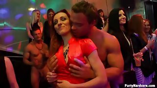 Dirty dancing with scantily clad girls at a party