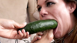 Cucumber girl on girl femdom fun - GlamBitches