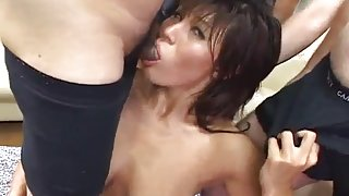 Yoshiki Aogiri gets cum in mouth after is fucked in hug