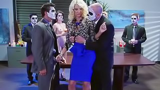 Masked lovers are fucking sweet blonde