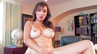 Fully nude big boobed pornstar Katsuni shows off her unthinkably sexy body. Exotic milfy pornstar with lovely ass and fake big tits shows it all and rubs her oriental pussy