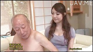 Busty Jap sucks old man cock