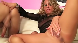 Horny as hell MILF Amanda Blow goes crazy about ass licking. She licks dudes asshole before he tongue fucks her anus. They both love the fun. She has a nice tine rubbing his asshole and stroking her pussy at the same time