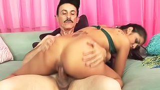 Teenage sexy girl Ruby Rayes in sexy cheerleader uniform does it with older guy. His mature cock is hard! She gives nice blowjob to aged man and gets her tight hairless pussy banged