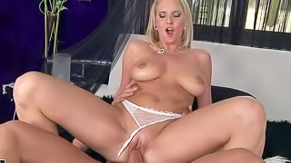 Eve Sweet is another gorgeous blonde babe with juicy natural boobies. She gives nice blowjob to her man and then takes his stiff dick up her pink pussy with her white thong panties on