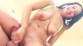 Big titted sexy Aliana Love gets fully nude pretty soon after she starts stroking cock from your point of view. Looks like its your cock between her legs and she jerks it with her hand